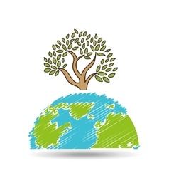symbol ecology tree global icon vector image