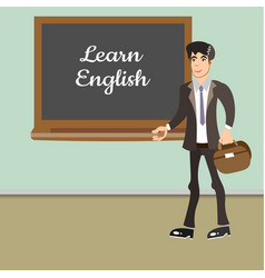 young teacher by blackboard vector image
