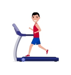 cartoon boy man running on a treadmill vector image vector image