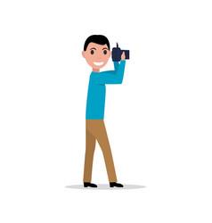 cartoon man with photo camera vector image