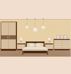 Graceful bedroom interior in warm colors with vector