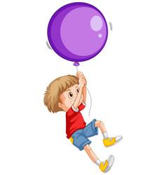 little boy and purple balloon vector image vector image