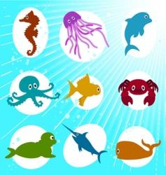 marine life cartoon vector image vector image