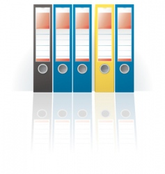 row of colored ring binders vector image