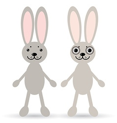 Set of two cute rabbits on a white background vector image