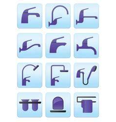 Water taps and bathroom accessories icons set vector image vector image