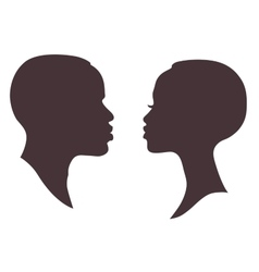 African woman and man face silhouette vector image vector image
