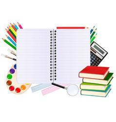 notebook with school supplies vector image vector image
