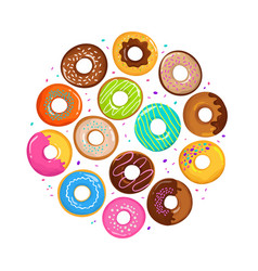 sweet cartoon donuts in round form vector image vector image