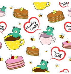 bear smiling in a cup pancake and bee pattern vector image