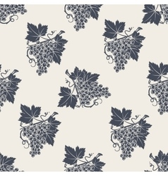 Branch of grape with leaves seamless pattern vector image