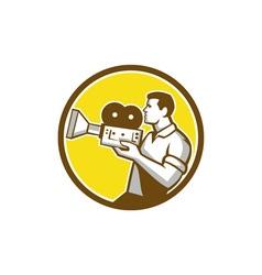 Cameraman Cradling Vintage Movie Camera Circle vector image vector image