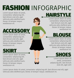 fashion infographic with young female teacher vector image