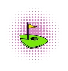 Flag on a golf course icon comics style vector image vector image