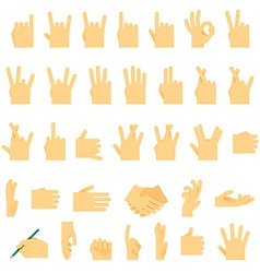 Icons and symbols hands wrist gestures signals vector image