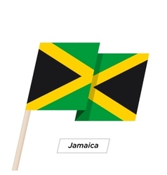 Jamaica Ribbon Waving Flag Isolated on White vector image vector image