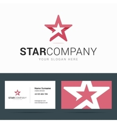 Logo and business card template with star shape vector image vector image