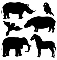 Set 1 of african animals silhouettes vector image vector image