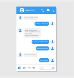 social network messenger page template vector image vector image