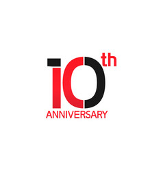 10 years anniversary logotype with black and red vector