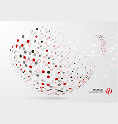 abstract 3d halftone dots patter red black and vector image