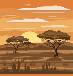 African landscape sunset savannah nature trees vector