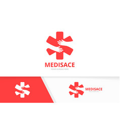 Ambulance and hands logo combination medic vector