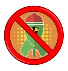 Atomic bomb with radiation sign nuclear rocket vector