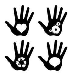 black hand prints with idea symbols vector image