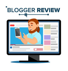 Blogger review concept vetor popular blogger man vector