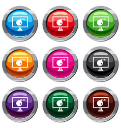 bomb on computer monitor set 9 collection vector image