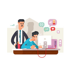 boss and employee vector image