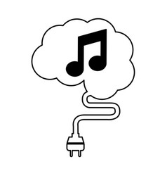 brain connected with music note vector image
