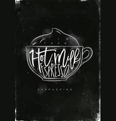 Cappuccino cup chalk vector