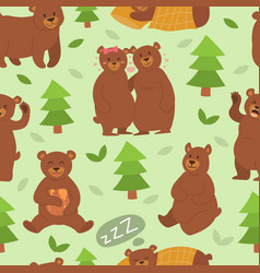 cartoon bear character different pose vector image