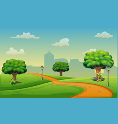 cartoon view of the road to the city vector image