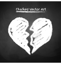 Chalked broken heart vector