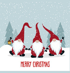 Christmas card with funny gnomes vector