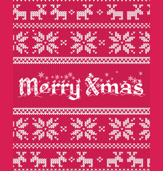 christmas greeting card with fair isle knitted vector image