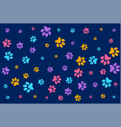 Colorful dog or cat paw prints pattern background vector