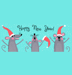 cute gray rats in santas hats wishes happy new vector image