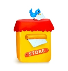 Cute little store yellow post box in cartoon style vector image