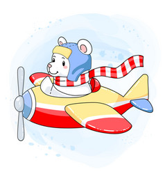 Cute pastel bear aviator on a colorful airplane vector