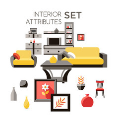 digital yellow furniture icons vector image