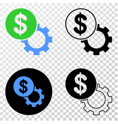 dollar setup gear eps icon with contour vector image