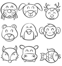 Doodle of animal head style hand draw vector