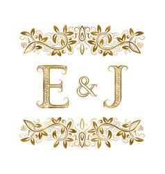 E and j vintage initials logo symbol vector