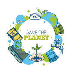 earth planet green tree and recycle bins icon vector image