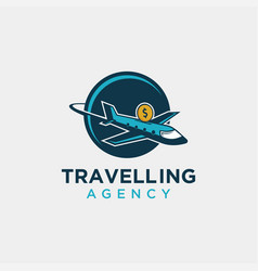 economic travel agency logo icon template vector image