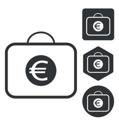 Euro bag icon set monochrome vector image
